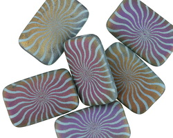 Czech Glass Laser Etched Radiant Sun on Matte Rainbow w/ Turquoise Finish Rectangle 19x12mm