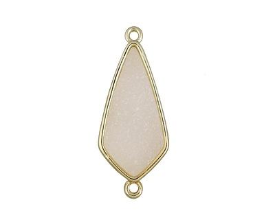 Metallic Crystal Druzy Teardrop Link in Gold Finish Bezel 33x14mm