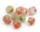 African Recycled Glass Clear w/ Coral & Green Flecks Tumbled Round 12-16mm