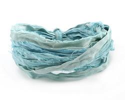 Aquamarine 100% Silk Sari Ribbon