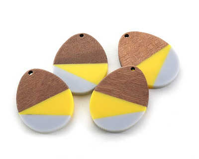 Walnut Wood & Yellow and Gray 2021 Color of the Year Resin Teardrop Focal 28x37mm