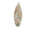 Gaea Ceramic Hand Painted Pastels on Cream Large Feather Focal 21-22x62mm