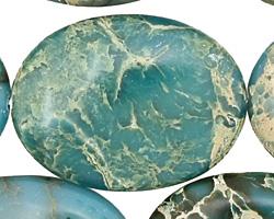 Turquoise Impression Jasper Flat Oval 40x30mm