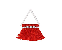 Red Small Fanned Tassel on Triangle Ring w/ Silver Finish 15x23mm