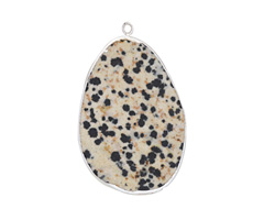 Dalmatian Jasper Freeform Teardrop Silver Wrapped Pendant 23-30x43-50mm