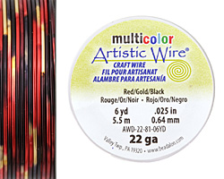 Artistic Wire MultiColor Red/Gold/Black 22 Gauge, 6 Yards