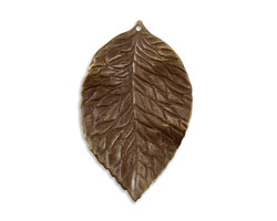 Vintaj Natural Brass Hibiscus Leaf Pendant 34x55mm