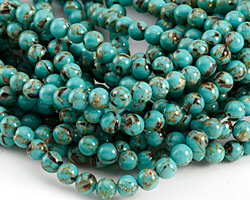 Sea Green Mosaic Shell Round 6mm