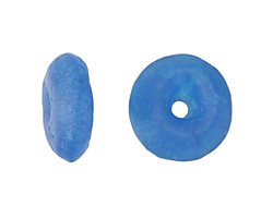African Recycled Glass Crackled Caribbean Blue Tumbled Donut 17-19mm