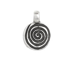 Greek Pewter Spiral Pendant 16x23mm