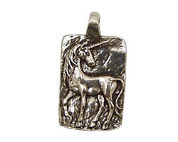 Green Girl Pewter Unicorn 17x31mm