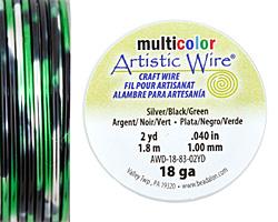 Artistic Wire MultiColor Silver/Black/Green 18 Gauge, 2 Yards