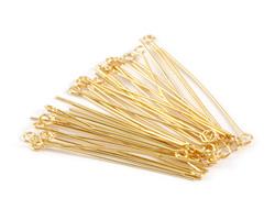 """Gold (plated) Eye Pin 1.5"""", 22 gauge"""