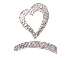 TierraCast Rhodium (plated) Hammertone Heart Toggle Clasp 21x18mm, 27mm bar