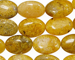 Natural Yellow Agate Flat Oval 18x13mm