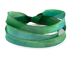 """Forest Shadows Hand Dyed 100% Silk Ribbon 7/16"""""""