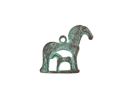 Greek Copper (plated) Patina Mare & Foal Charm 22x20mm
