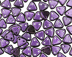 CzechMates Glass Polychrome Black Currant 2-Hole Triangle 6mm