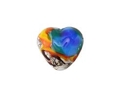 Grace Lampwork Color Splash Heart 19x18mm