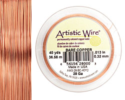 Artistic Wire Bare Copper 28 gauge, 40 yards