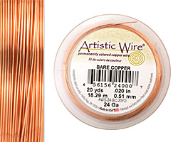 Artistic Wire Bare Copper 24 gauge, 20 yards