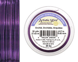 Artistic Wire Silver Plated Orchid 26 gauge, 30 yards