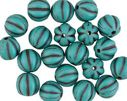 Czech Glass Matte Turquoise w/ Chocolate Melon Round 8mm