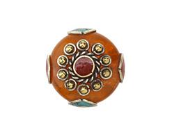Tibetan Resin Amber & White Brass w/ Coral Center Coin Bead 25mm