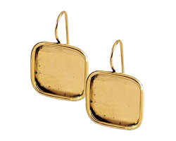 Nunn Design Antique Gold (plated) Large Square Frame Earring 18mm