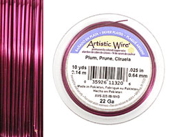Artistic Wire Silver Plated Plum 22 gauge, 10 yards