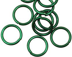 Green Anodized Aluminum Jump Ring 13mm, 16 gauge (10mm inside diameter)