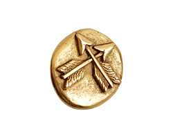 Nunn Design Antique Gold (plated) Round Crossed Arrow Button 17x18mm