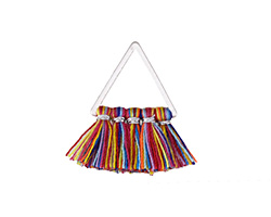 Carnival Small Fanned Tassel on Triangle Ring w/ Silver Finish 15x23mm