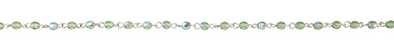 Czech Fire Polished 4mm Peridot AB Faceted Round Silver (plated) Bead Chain