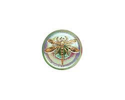 Czech Glass Iridescent Green w/ Gold Dragonfly Button 18mm