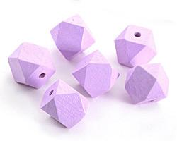 Lavender Wood Faceted Nugget 20mm
