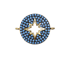 Turquoise Pave CZ Antique Gold (plated) Starburst Coin Focal Link 26x20mm