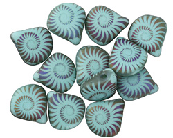 Czech Glass Laser Etched Ammonite on Matte Turquoise Opaque w/ Rainbow Finish Briolette 11x12mm