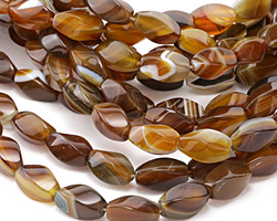 Brown Line Agate 4-Sided Twisted Rice 16x8mm