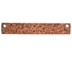 Nunn Design Antique Copper (plated) Hammered Flat Long Narrow Horizontal Tag 45x7mm