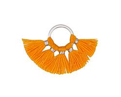 Tangerine Small Fanned Tassel on Ring w/ Silver Finish 29x19mm