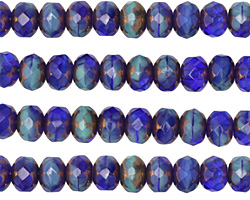 Czech Glass Bronzed Cobalt Sky Fire Polished Rondelle 5x7mm