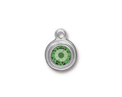 TierraCast Rhodium (plated) Stepped Bezel Drop w/ Peridot Crystal 12x17mm