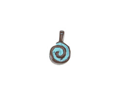 Greek Copper Patina Spiral Bead Bail 8x13mm