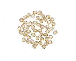 Czech Fire Polished Glass Luster Transparent Champagne Round 2mm