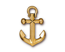 TierraCast Antique Gold (plated) Anchor Charm 12x20mm