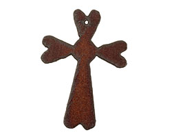 The Lipstick Ranch Rusted Iron Cross w/ Hearts Pendant 45x63mm