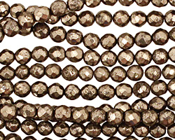 Golden Pyrite (silver tone) Faceted Round 3-4mm