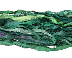 Emerald 100% Silk Sari Ribbon