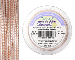 Twisted Artistic Wire Silver Plated Rose Gold 20 gauge, 4 yards